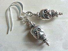 Day of the Dead Simple Silver Sugar Skull Earrings Boho STERLING SILVER Tops
