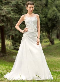 A-Line/Princess Scoop Neck Court Train Organza Wedding Dress With Ruffle Lace Beadwork (002012687) - JJsHouse