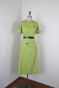 1940's Green Linen Day Dress