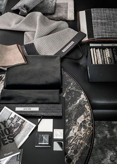 ~ Living a Beautiful Life ~ Materials by Lorenzo Pennati, via Behance, grey and black mood board, interior design Interior Design Boards, Bathroom Interior Design, Yacht Design, Moodboard Interior, Mood And Tone, Mood Images, Mood Colors, Colour Board, Küchen Design