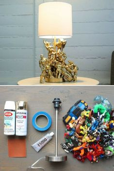 This action figure lamp is a fairly quick and cheap project! Nice tutorial, it will be such a great and eclectic piece of decor for any room and making it is much easier than you would think. Creative Lamps, Unique Lamps, Refurbished Lamps, Small Desk Lamp, Lamp Makeover, Diy For Kids, Action Figures, Table Lamp, Lamp Ideas
