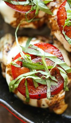 Amazingly crisp-tender chicken baked with melted mozzarella and topped with juicy tomatoes, fresh basil and balsamic reduction!