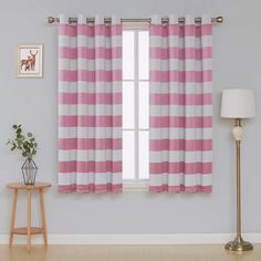 Deconovo Pink Striped Light Blocking Window Curtains Thermal Insulated Pink and Greyish White Striped Curtains for Bedroom 52W X 45L Baby Pink 2 Panels