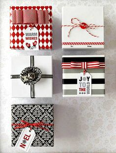 #Christmas #giftwrapping ideas ToniK ⓦⓡⓐⓟ ⓘⓣ ⓤⓟ #DIY #crafts red black white