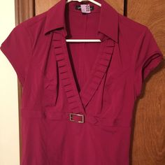Express Studio fuchsia blouse size S, like new Express Studio fuchsia color blouse, worn only twice, like new, size S, but could fit an M Express Tops Blouses