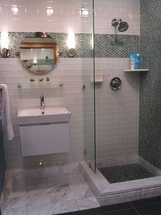 Modern glass subway bathroom