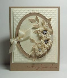 Missro, Splitcoaststampers:  Stampin' Up! Blossoms Abound and Best Blossoms; Seam binding scrunched to make flower