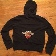 Harley black zip up hoodie Worn condition. Nice patch on back no tags inside would fit s-m Jackets & Coats