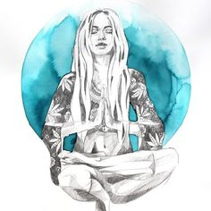 artist hannah adamaszek captures the sense of being, where the beauty and timelessness of the world come into sharp focus. check out hannah adamaszek bohemian art! Yoga Kunst, Les Chakras, Yoga Art, Wild Ones, Moon Child, Art Music, Art Inspo, Art Drawings, Illustration Art