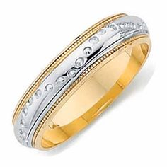 18ct White with Yellow Gold Wedding Ring Width 4mm to 6mm