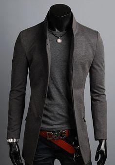 KOREAN Mens Slim Fit Premium Button Jacket China Collar Long Blazer HD6-XS/S/M/L