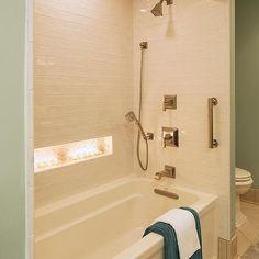 Shower Alcove, Transitional, bathroom, Benjamin Moore Silver Marlin, Renae Keller