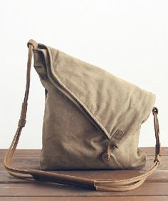 Khaki Canvas Shoulder Bag, Canvas H