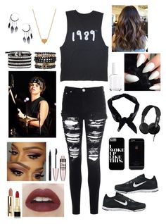 """""""Ashton Irwin Inspired Outfit"""" by dani1719 ❤ liked on Polyvore featuring Glamorous, NIKE, Skullcandy, Boohoo, Samantha Wills, Minnie Grace, Topshop, Stila, Maybelline and Dolce&Gabbana"""