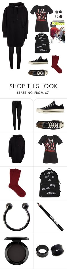 """""""emo girl"""" by kate4kaaaaa ❤ liked on Polyvore featuring rag & bone, Converse, MSGM, Falke, Valentino, Hot Topic, Manic Panic NYC, MAC Cosmetics and NOVICA"""