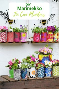 Create a riot of pattern and colour in your garden with some DIY Marimekko decorative tin can planters. This is a cheap and easy upcycle using paper napkin decoupage. diy upcycle Easy Upcycled Marimekko Decorative Tin Can Planters Upcycled Crafts, Upcycled Garden, Marimekko, Tin Can Crafts, Diy And Crafts, Diy Crafts For Adults, Rock Crafts, Homemade Crafts, Fun Crafts