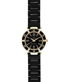Anne Klein Watch, Women's Black Ceramic Bracelet 10-9416BKBK