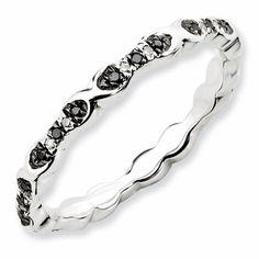 Black Diamond Wedding Band in Sterling Silver