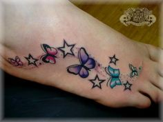 Alluring Foot Tattoo designs For Girls Butterfly Foot Tattoo, Butterfly Tattoos For Women, Butterfly Tattoo Designs, Tattoo Designs For Girls, Tattoo Designs Foot, Design Tattoos, Butterfly Dragon, Star Butterfly, Purple Butterfly