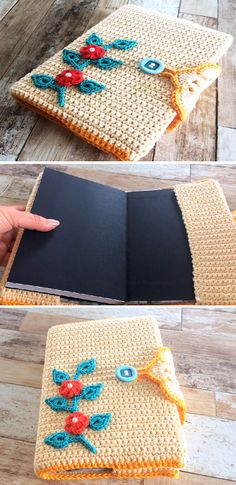 Crochet Beautiful Book Cover – Design Birdy Marque-pages Au Crochet, Crochet Mignon, Crochet Puff Flower, Crochet Case, Crochet Flower Patterns, Crochet Gifts, Cute Crochet, Crochet Flowers, Crochet Book Cover