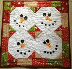 Quilted Cupcake: Snowman Wall Quilt or Table Runner- no tutorial, just a snowball block with buttons, etc