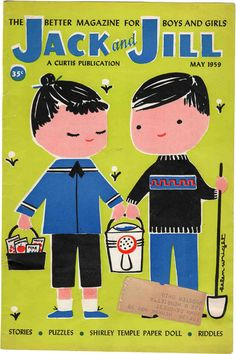 Vintage Jack and Jill Magazine (COVER ONLY) May 1959 gardening Helen Wright art