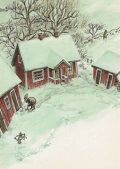 Winter for Pettson & Findus by katya. Art And Illustration, Botanical Illustration, Swedish Christmas, Christmas Art, House Sketch, Winter's Tale, Winter Pictures, Naive Art, Cute Wallpapers