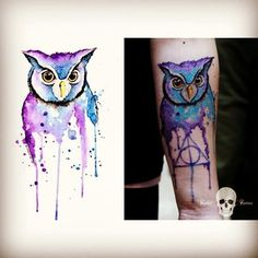 26 Stunning Harry Potter Tattoos That Will Give You All The Feels watercolor tattoo Future Tattoos, Love Tattoos, Beautiful Tattoos, Body Art Tattoos, Tatoos, Tatto Harry Potter, Harry Potter Owl, Hp Tattoo, Piercing Tattoo