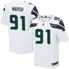 Nike Elite Cassius Marsh White Men's Jersey - Seattle Seahawks #91 NFL Road