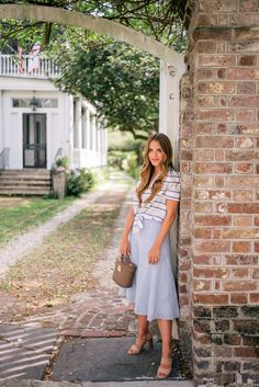 Gal Meets Glam A Mix Of Stripes -Equipment top, Nordstrom skirt, Joie heels & Mark Cross Bag