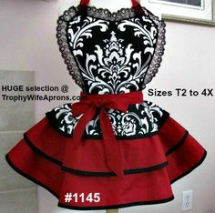 Apron # 1145 - Black & white damask over dark red handmade apron. Email me if you want a different size.