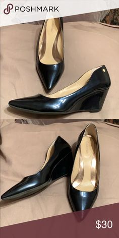 1881f18e116 Women s shoes Navy dress wedges in patent leather Calvin Klein Shoes Wedges