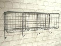 Vintage Industrial Style Metal Wall Shelf Unit Rack Coat Hooks Storage Basket