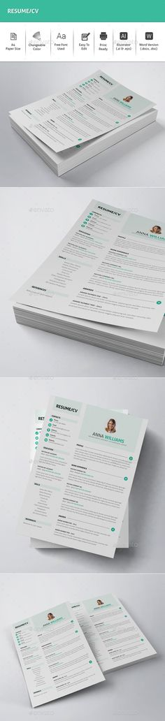 Resume / CV Template. Download here: http://graphicriver.net/item/resumecv/15820802?ref=ksioks