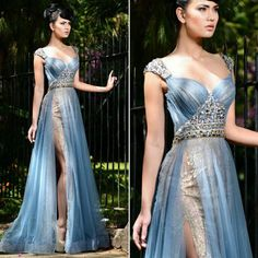 A lovely blue gown by @ramisalamoun with sheer fabric, beadings and high slit. Reminds us of a modern day princess. What do you think about the dress? Leave a comment below!  Tag a friend who loves weddings! For more inspiration, follow:  @_FantasyWedding @WeddingL0ve✨ @_FantasyWedding