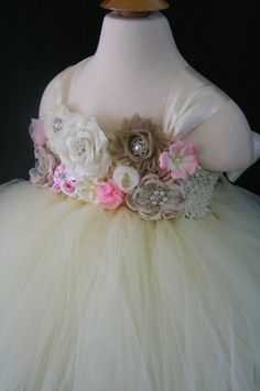 Flower Girl Tutu Dress, Baby, Toddler, Girls, Ivory, Champagne & Pink flowers, 6months-7 in Girls/Child, Birthday, Pageant, Wedding, Easter