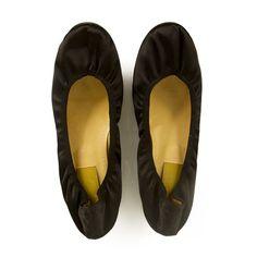 LANVIN Classic black satin ballet shoes flats ballerina size 40