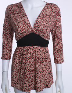 DIANE VON FURSTENBERG V-NECK EMPIRE WAIST 3/4 SLEEVE SILK RUST PRINT TOP SZ SM