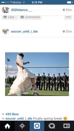 Cute soccer wedding pictures.