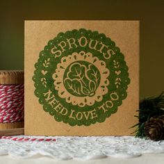 Individually hand printed eco friendly Christmas cards, using extra thick recycled kraft card and solvent free inks. Need Love, My Love, Christmas Card Packs, Paper Shopping Bag, Hand Lettering, Typography, Gift Wrapping, Sprouts, Illustration
