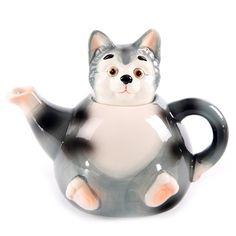 Ceramic Cat Teapot. I need this.