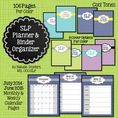 newly updated for 2014 2015 slp planner and binder organizer 106 pages in