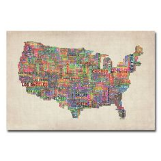 @Overstock - Michael Tompsett 'US Cities Text Map VI' Canvas Art - Artist: Michael TompsettTitle: US Cities Text Map VIProduct Type: Gallery-wrapped canvas art     http://www.overstock.com/Home-Garden/Michael-Tompsett-US-Cities-Text-Map-VI-Canvas-Art/7551555/product.html?CID=214117  $44.99