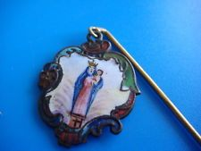 MEDAILLE EMAIL VIERGE MARIE JESUS XVIII 18 th EPINGLE PROCESSION ARGENT REGIONAL