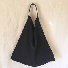 リネンと革のバッグ(黒)