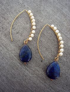 Model Concours _Long, dramatic earrings, wire wrapped with Lapis Lazuli gemstone and Fresh Water Pearls