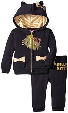 Hello Kitty Baby Girls' 2pc Hoodie and Pant Set, Black, 2... http://a.co/7ixBTO3