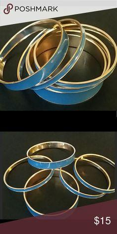 🍃5 Blue Enamel Bracelets🍃 🍃5 Blue enamel bracelets of varying widths. Gold tone on the inside, pretty blue on the outside. Lightweight fashion bracelets. 🍃 Jewelry Bracelets