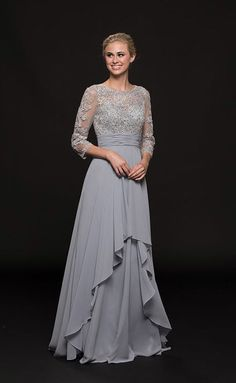 Glow by Colors - Illusion Jewel Appliqued A-Line Gown In Gray Mother Of The Bride Dresses Long, Mothers Dresses, Mob Dresses, Bridesmaid Dresses, Formal Dresses, Grey Gown, Dress Brokat, A Line Gown, Glow