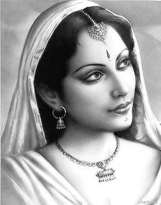 Secret in Her Eyes ~ pencil portrait of Indian woman ~ artist undetermined